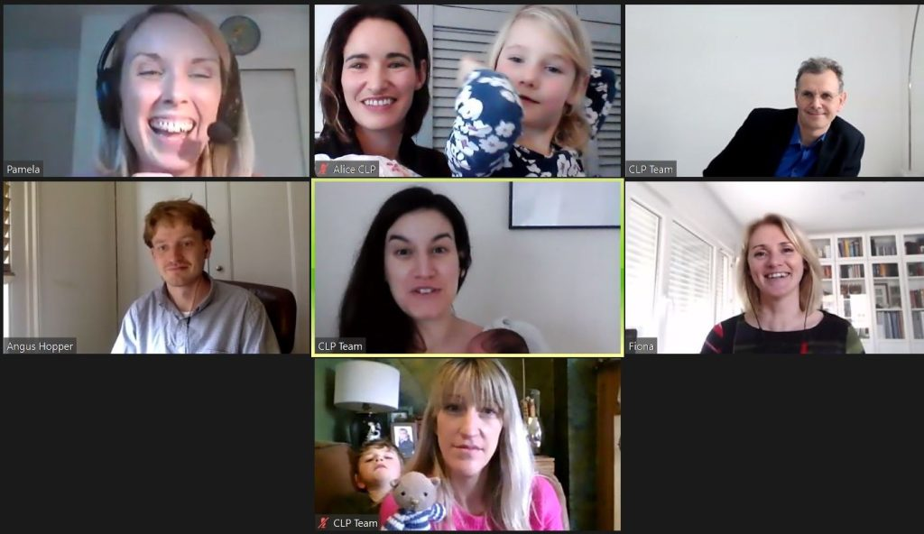 A screenshot of our most recent Zoom Team Social showing Pam, Alice (and daughter), Marcus, Angus, Chiara (and baby), Fiona and Catherine (and son).